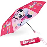 Paraguas Plegable Infantil de Minnie Mouse - BONNYCO | Paraguas Antiviento para Niñas con Estructura Reforzada | Paraguas Infantiles para Bolso, Mochila o Viaje | Regalos Originales Disney para Niñas
