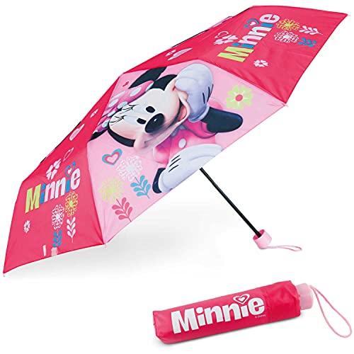 Regenschirm Kinder Minnie Mouse - BONNYCO | Regenschirm Sturmfest mit Verstärkter Struktur - Klappschirm mit für Tasche, Rucksack oder Reise | Regenschirm Klein Mädchen - Geschenke...