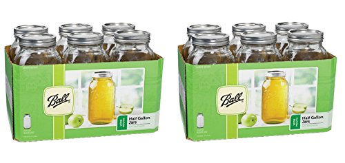 Ball 6 Pieces 64 Oz Wide Mouth 1/2 Gal. Glass Jars Made in USA (2 Pack) Includes lids with bands