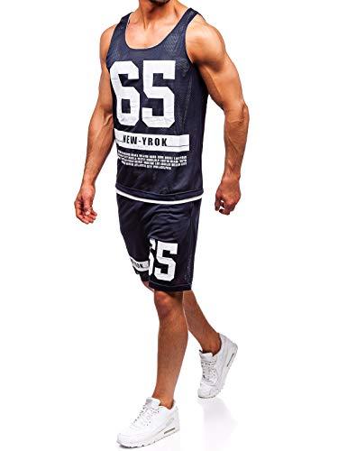 BOLF Herren Sportanzug Tank Top T-Shirt Kurze Hose Set Rundhalsausschnitt Aufdruck Motiv Sport Style J.Style 100777 Dunkelblau L [8H8]