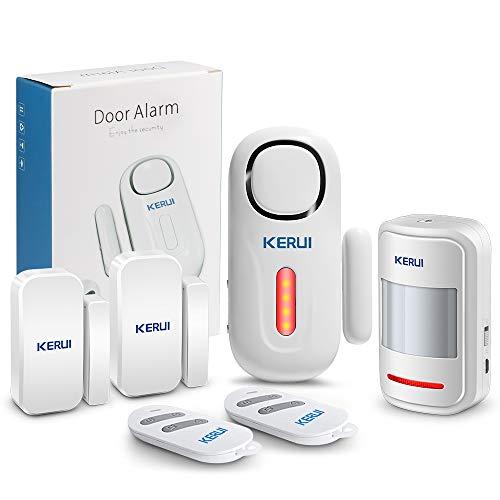 KERUI Tür und Fenster Alarmanlage mit 2 Tür Fenstersensoren und 2 Fernbedienungen Batterie Erweiterbar Sicherheit Alarmanlage Tür Einbruchschutz fur Haus Türalarm mit Fernbedienung (D2 Pir Kit)