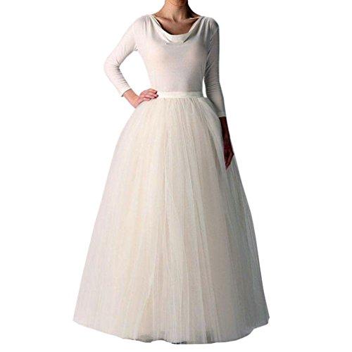 WDPL Women's Long Tutu Tulle Skirt A Line Floor Length Skirts (Ivory, Medium)