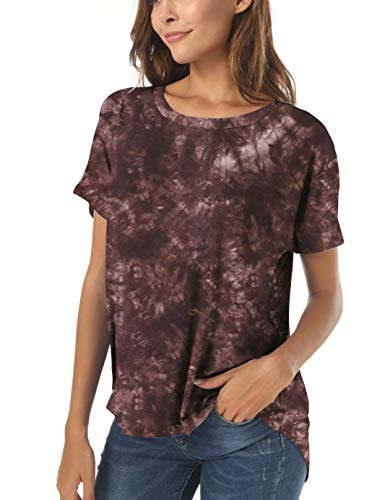 Herou Summer Short Sleeve High Low Loose T Shirt Basic Tees Casual Tops for Women (Coffee-Tie Dye, X-Large)