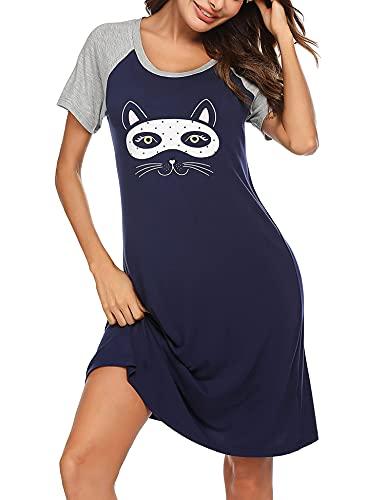 Venukiss Nachtwäsche für Frauen Sommer Nachthemden für Damen Kurzarm HausKleider Sommer, Marineblau XXXL