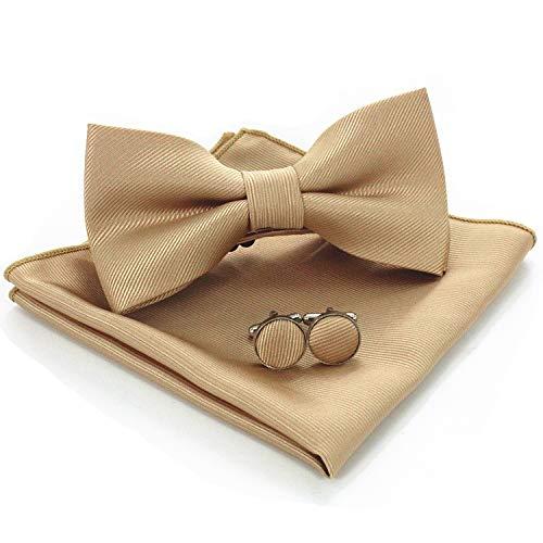 JEMYGINS Flache Gold Textur Fliege Einfarbig und Einstecktuch mit Manschettenknöpfe Sets für Herren(6)