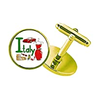 イタリアの国家の象徴のランドマークのパターン スタッズビジネスシャツメタルカフリンクスゴールド