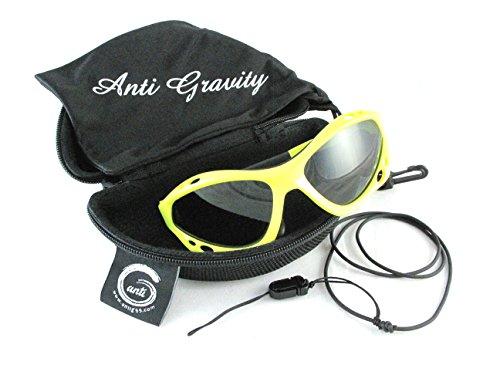 Anti Gravity 偏光サングラス バンド式 水に沈みにくい ハードケース付き マリンスポーツ スノースポーツ サイクリング ジョギング 登山 釣りなどに アンチグラビティ (レモンイエロー, 偏光グレー)