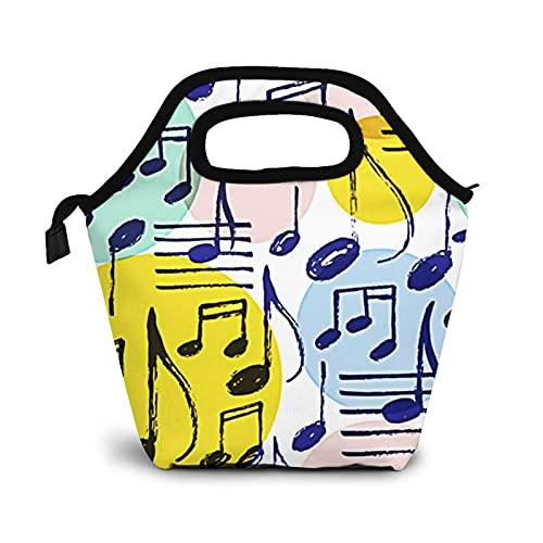 Bolsa Térmica Comida Bolsas De Almuerzo Para Mujeres Hombres Niñas Niños Bolsa Isotérmica De Almuerzo Batir notas musicales Polka