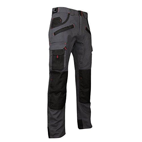 LMA 1261 Argile Pantalon avec Poches Genouillères, Gris Nuit/Noir, Taille 40