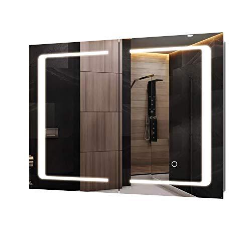 Homfa LED Spiegelschrank Bad Edelstahl Badezimmerspiegel Schrank mit Beleuchtung Lichspiegel Badspiegel mit 3 Farbtemperatur dimmbare mit Berührung Sensorschalter 80x60x13cm