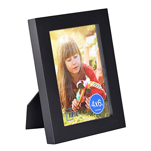 RPJC 4x6 Picture Frames Made of Solid Wood High Definition Glass for Table Top Display and Wall Mounting Photo Frame Black