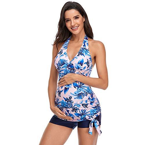 SEDEX Traje de Baño Maternidad Estampado Flores Verano Embarazo Halter Tankini Top con Pantalones de Bikini Bañador Embarazadas de Dos Piezas de Playa Traje de Baño(Rosa,M)