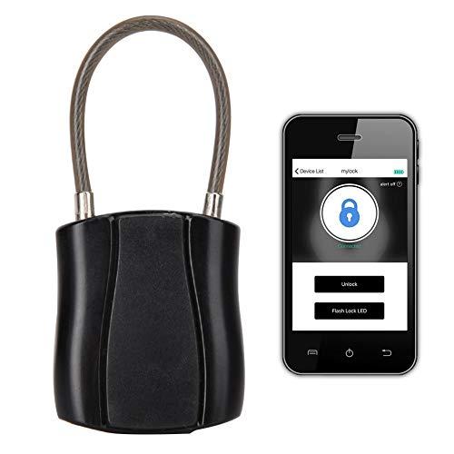 Candado sin llave con Bluetooth inteligente - Bloqueo de alarma de separación de teléfono USB IOS/Android de baja potencia para puerta, mochila, oficina, maleta, bicicleta, armario(Black)