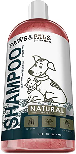 Paws & Pals Natural Oatmeal Dog Shampoo and Conditioner 2-in-1 Best for Cats & Dogs Dry Itchy Skin - Made in USA w/ Medicated Clinical Vet Formula - Anti Itch Moisturizing Pet Soap for Sensitive Puppy