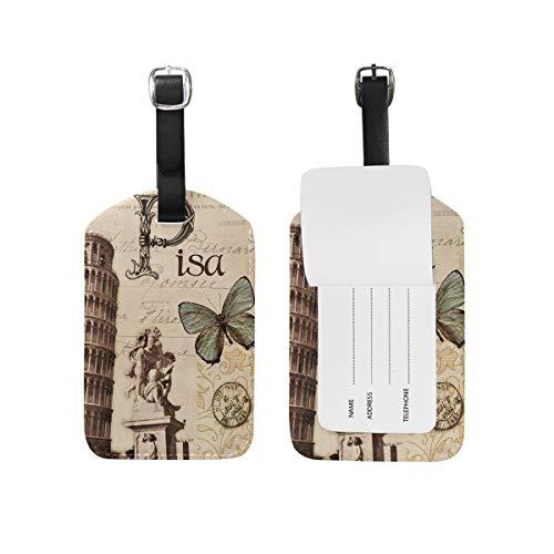 Eslifey Paris Pisa - Etiquetas de piel sintética para maleta, etiquetas de equipaje