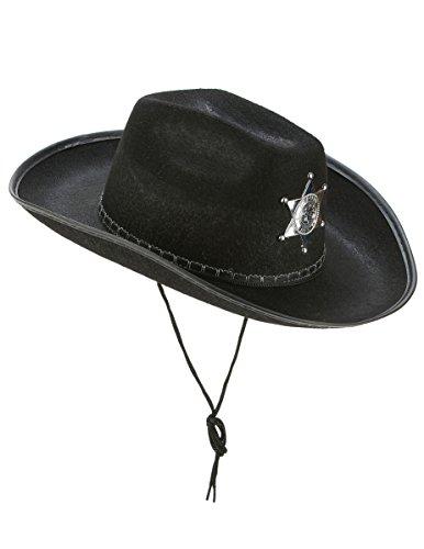 Vegaoo - Cowboy-Hut Sheriff für Erwachsene schwarz - Einheitsgröße
