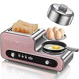 Tostadora 2 Slice Toaster y huevo fabricante multifunción Creador de habitaciones, desayuno 3 en 1 Máquina de acero inoxidable Tostadora Bagel con parrilla, sartén, Estante vapor de huevo, 220V / 1230