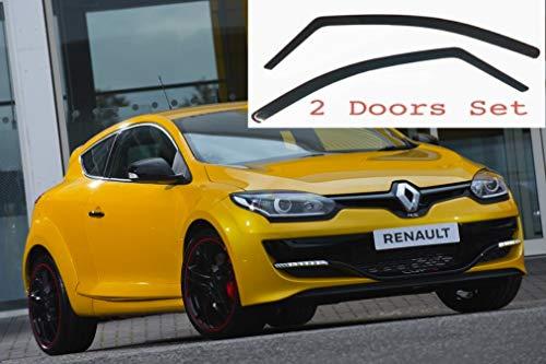 2x Windabweiser kompatibel für Renault Megane MK3 3-Türer Coupé 2008 2009 2010 2011 2012 2013 2014 2015 2016 Premium Qualität Acrylglas PMMA Regenabweiser Abweiser
