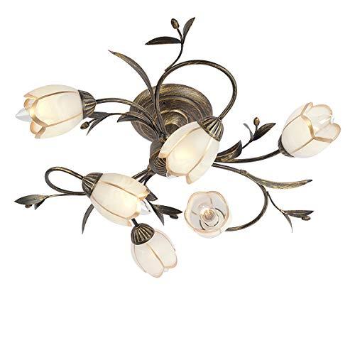 Antike Blumenform Deckenleuchte Florentiner Deckenlampe Landhausstil Schwarz Gold Metall Braun Glasschirme Blumen 6 -Flammig E14 x 60W (Inklusive LED-Dimmung Birne)