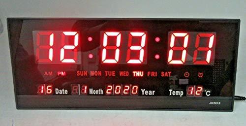 Alarm 14' large LED Wall Desk Powered 4ft Adapter Clock With Calendar Temperature Digital Desk & Wall Calendar for Bedrooms Bedside Office