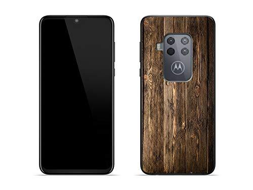 etuo Hülle für Motorola One Zoom - Hülle Foto Hülle - Holzbretter Handyhülle Schutzhülle Etui Hülle Cover Tasche für Handy