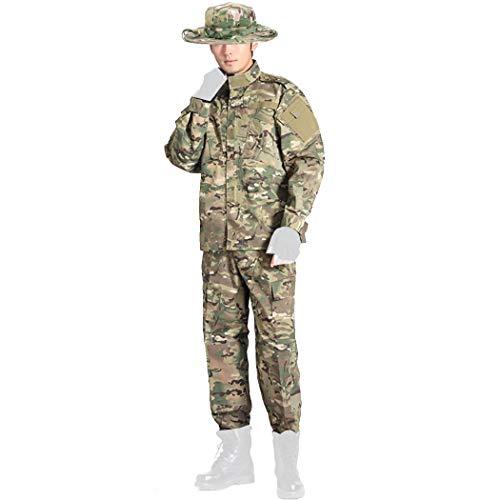 COSYJIA Airsoft Shirt & Hose Anzug, Herren Camouflage Camo Combat BDU Jacke Shirt & Hose Uniform Multi-Tasche mit Gürtel für Kriegsspiel Army Military Paintball Airsoft Jagdschießen(MC)