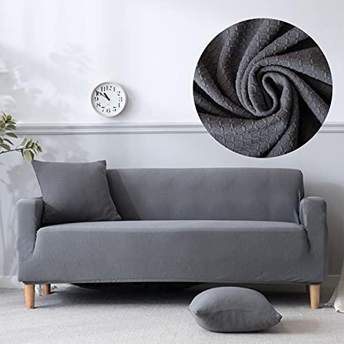 Funda de Sofa Impermeable, Protector de Sofa, Fundas Mascota, Cubre Sofa Antideslizante, Funda de Sofa elástica (Gris 3 plazas 185-230cm)