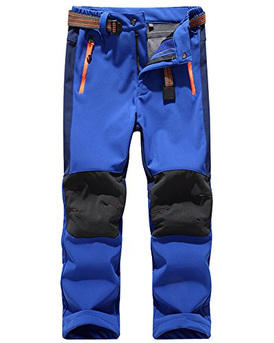 Jessie Kidden Kids' Outdoor Hiking Soft Shell Windproof Pants, Warm Climbing Trousers for Boys Girls #16010-Dark Blue,US S(Tag M)