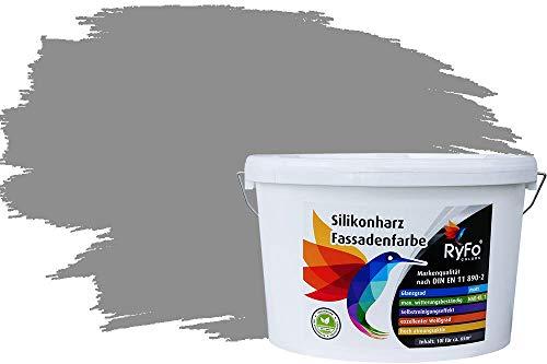 RyFo Colors Silikonharz Fassadenfarbe Lotuseffekt Trend Arktisgrau 10l - bunte Fassadenfarbe, weitere Grau Farbtöne und Größen erhältlich, Deckkraft Klasse 1