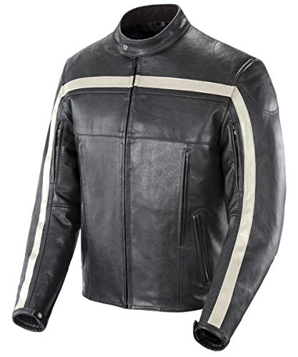 Joe Rocket 1052-2003 Old School Men's Leather Motorcycle Jacket (Black/Black/Ivory, Medium)
