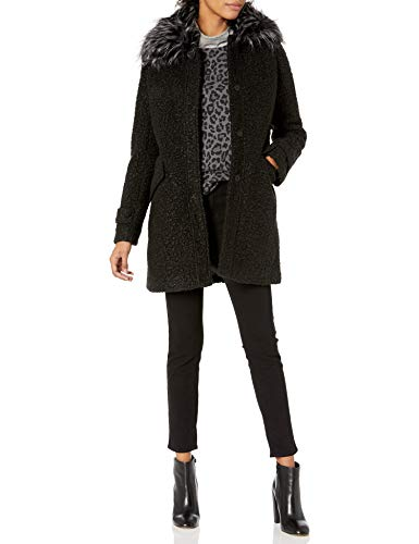 Jessica Simpson Damen Fashion Outerwear Jacket Daunenalternative, Mantel, Boucle Wolle schwarz, X-Large