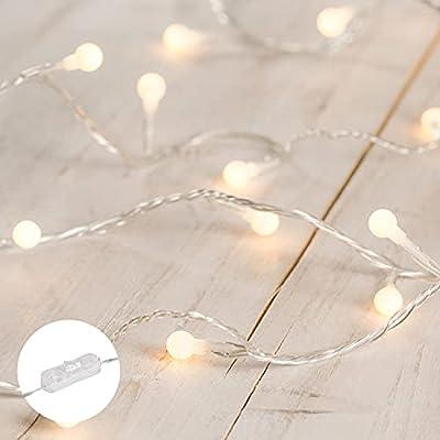 40 Ledes de Luz Blanca Cálida con Pequeñas Bolitas (1cm) Guirnalda de 6 m de largo, incluyendo el cable de 3 m Para uso en interiores Transformador seguro Garantía Lights4fun