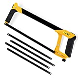 LAND 12 Inch Hacksaw - Heavy Duty Coping Saw with 4 Extra High-Carbon Steel Blade, for PVC, Pipe, Carpentry