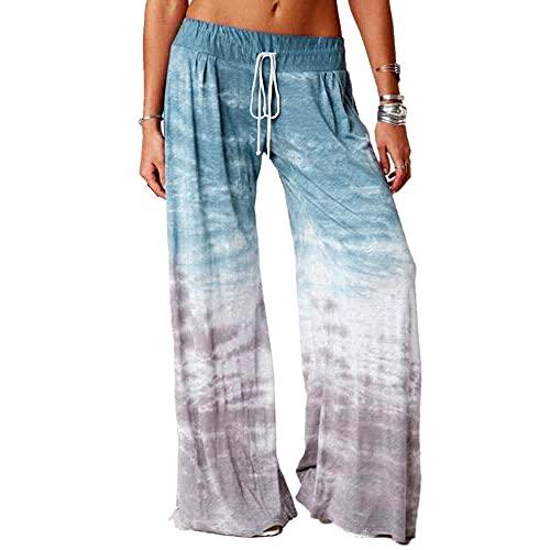 MLLM Leggings No Transparenta Cintura Alta,Pantalones de Yoga con Estampado Degradado, Pantalones Deportivos de Pierna Ancha para Mujer-Azul Cielo_L,Leggings Deportivos de Cintura Alta