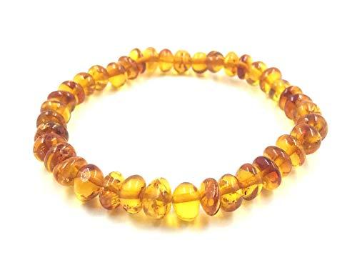 Amber Jewelry Shop Bernstein Armband (19cm) - 100% Baltischer Bernstein poliert - Bernsteinarmbänder- Bernstein Perlen echt - Armband Unisex