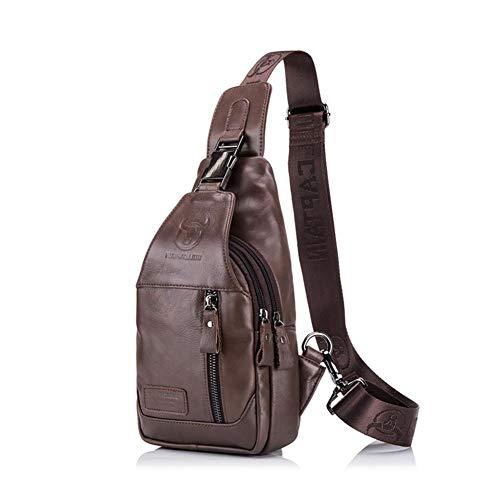 Leap de G bolsillo en el pecho Hombre, bandolera hombre, Super Modern piel Messenger Bag bolso, bolsa de hombro de alta calidad para trabajo, Uni, viaje, deportes, Marrón