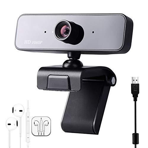 KXHWSH 1080P HD Webcam Eingebautes Mikrofo Mit Kopfhörern 78 °Weiter Betrachtungswinkel Multifunktionale Basis 360 ° Drehung USB Plug and Play