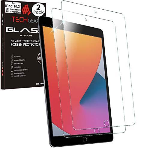 TECHGEAR 2 Stuck Panzerglas Kompatible mit iPad 102 20202019 Displayschutzfolie aus gehartetem Glas 9H Harte Crystal Clarity kompatible mit iPad 8 7 Generation 102 Inch Neuste Modelle