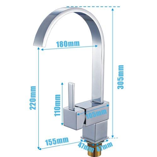 Auralum® Design Wasserhahn Hoher C-Auslauf Spültischarmatur Einhandmischer Küche Spüle - 5