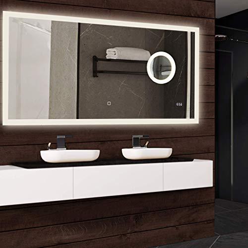 Badspiegel mit LED Beleuchtung - EEK A++, IP44, dimmbar, warmweiß und kaltweiß, Bluetoothlautsprecher und 3-fach Schminkspiegel, Größenwahl, Modellwahl - Badezimmerspiegel, Touch Lichtspiegel