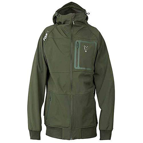 Fox Collection Greensilver Shell Hoodie - Softshell Pullover für Angler, Kapuzenpullover, Kapuzenpulli, Hoody, Angelpullover, Größe:XXL