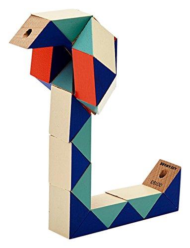 Areaware-Puzzle de Madera con Forma de Bloque de Serpiente, Color Rojo y Azul, (CZSBSRB)