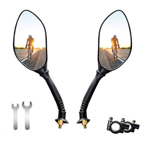 ANVAVA 2 Pcs Espejo Retorvisor Bicicleta Manillar Espejo de Bici Ajustable 360° Espejo Ciclismo para MTB Montaña Electrica Motó, Negro