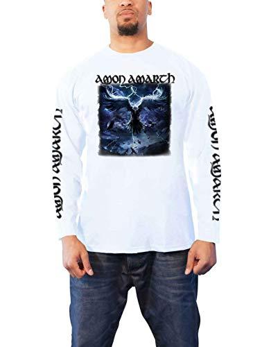Amon Amarth T Shirt Ravens Flight Nue offiziell Herren Weiß Longsleeve