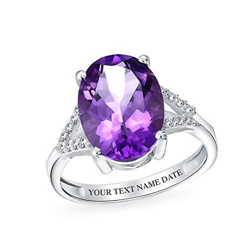 3.83Ct Piedra Púrpura Vástago Dividido Circónoval Amatista Anillo Para Mujer 925 Febrero Piedra De Nacimiento