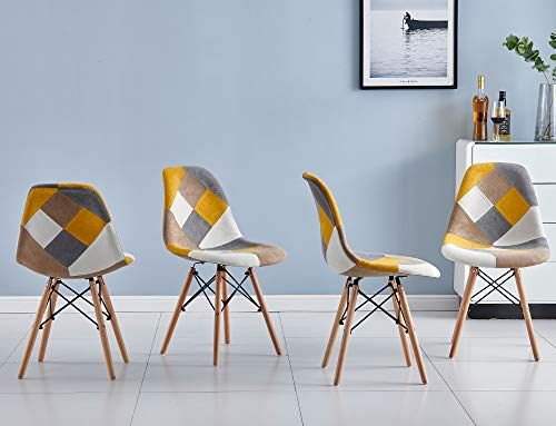 Retro Patchwork Kitchen Dining Chairs Set of 4 Multicolor Fabric Occasional Chairs for Home Office Lounge Restaurant Soft Chairs with Upholstered Padded Seat Wood Legs (Yellow)