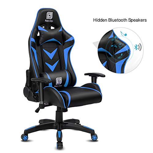 Modern-Depo High-Back Swivel Gaming Chair Recliner with Bluetooth 4.1 Speakers & Lumbar Support & Headrest | Height Adjustable Ergonomic Office Desk Chair - Black & Blue chair footrest gaming