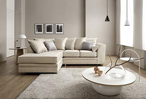 Abakus Direct Chicago Corner Sofa Settee Right or Left in Cream Water Repellent Velvet Fabric (Left Hand Facing)