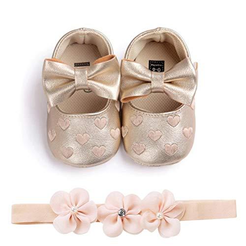 EDOTON Baby Mädchen 2 Pcs Kleinkind Party Schuhe Mit Stirnband, A - Gold, Gr.- 6-12 Monate/Herstellergröße- 3