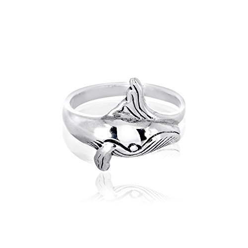WithLoveSilver 925 Sterling Silver Cute Happy Whale Ring (8)
